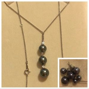 Mikimoto Diamond Pearl Necklace 18K WG